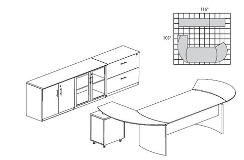 "Mayline Safco Medina Curved L-shape w Desk Extension (72""W) & Storage Credenza & 2 Drawer Lateral"