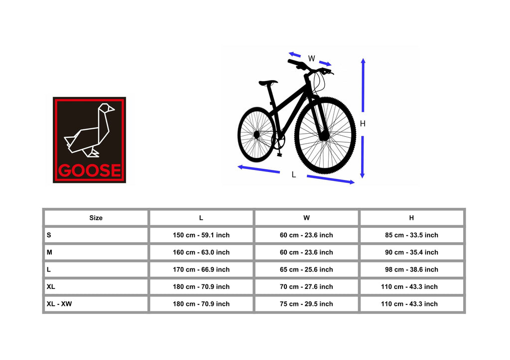 Goose Bicycle Cover Size Chart