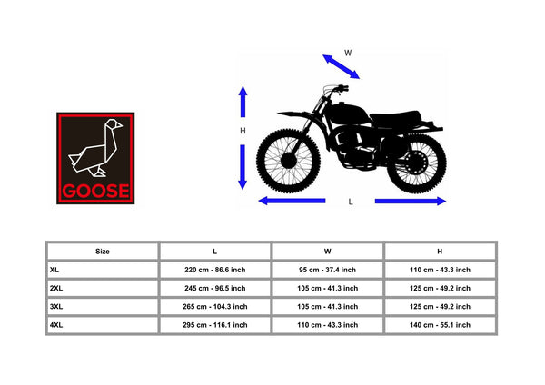 www.goosesystems.com - Motorcycle Cover - Goose - Premium Grade Lockable Motorbike Cover - Heavy Duty 210D Waterproof Oxford Fabric - The Ultimate Motorcycle Protection - Black - Size Chart