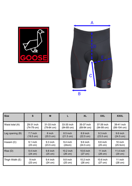 Goose Padded Cycling Shorts - Size Chart