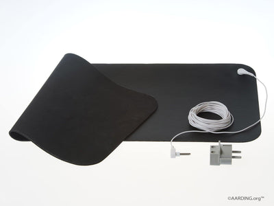"Grounding Mat Carbon Leather 26x68cm (10"" x 27"") Incl. cable 5m and adapter - Aarding"