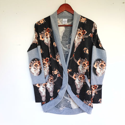 Skull & Flowers/ Heather Grey Cardigan