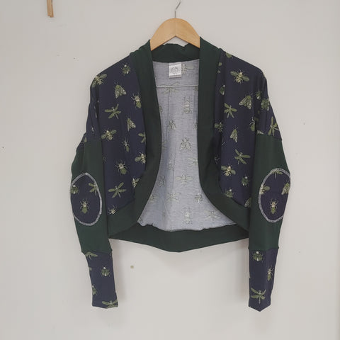 Bugs on Navy with Hunter Green cropped Cardigan