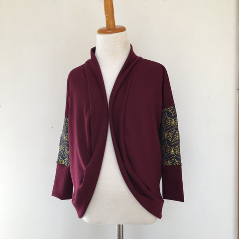Burgundy/Geo Golden Butterfly Cardigan