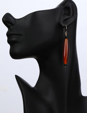 Crimson Chrysalis: Long Drop Earrings-Carnelian Onyx Gold