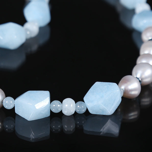 Soothing: Princess Necklace-Silver Freshwater Pearls Aqua Topaz Silver