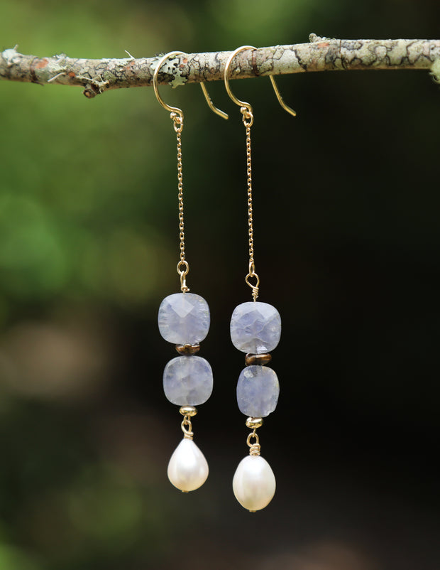 White Orchid Studios | Made in the USA | Handcrafted couture jewelry inspired by nature. | Freshwater potato and Keshi pearls enhance faceted iolite pillows on 14kt yellow gold chain and earwires. $166