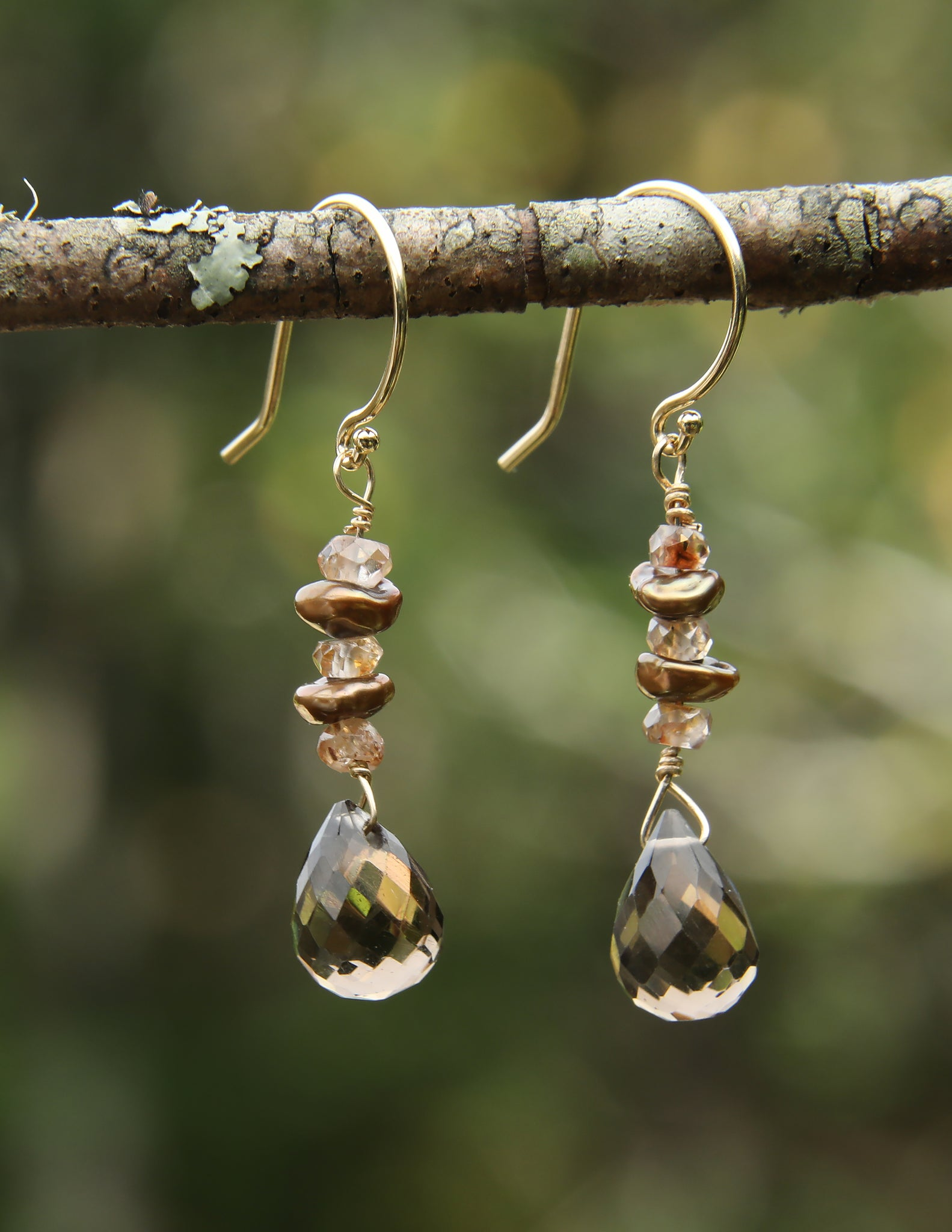 White Orchid Studios | Made in the USA | Handcrafted couture jewelry inspired by nature. |  Faceted smoky quartz briolettes float below olive, freshwater Keshi pearls and champagne zircon on 14k gold earwires. $100