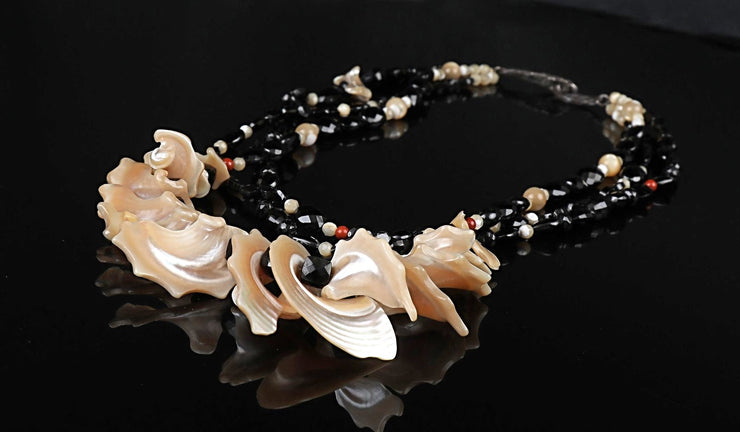 A Little Drama: Bib Necklace-Black Spinel Mother of Pearl Red Jasper