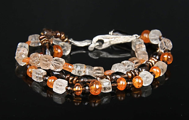 Autumn Glory: A 3-strand Bracelet-Gems of Autumn Shades, Gold