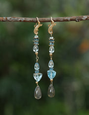 Azure Day: Shoulder Duster Earring-Blue Topaz, Labradorite, Artisan Gold
