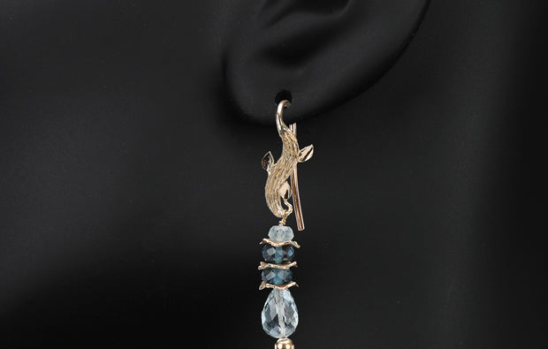 Azure Day 1: Shoulder Duster Earring-Blue Topaz Labradorite Artisan Gold