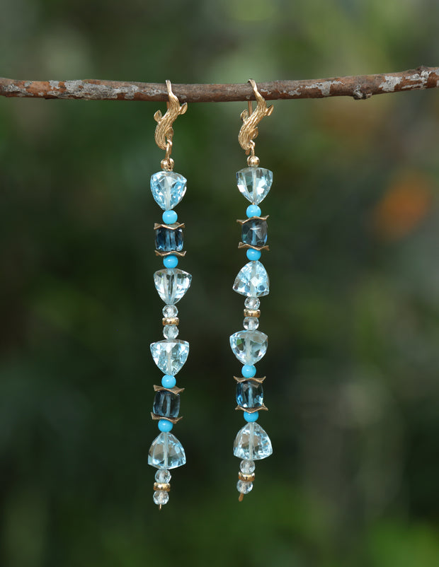 Azure Day 2: Shoulder Duster Earrings-Topaz Turquoise Artisan Gold