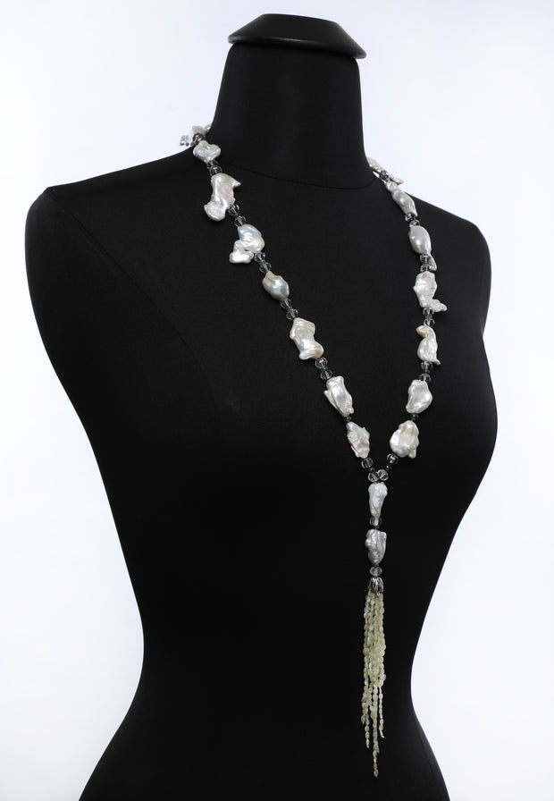 Beautiful Cat's Eyes: Tassel Sautoir Necklace-Pearls Prasiolite Sapphires Chrysoberyl