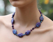 Beautiful Turquoise: Princess Necklace-Turquoise Ruby Amethyst Silver