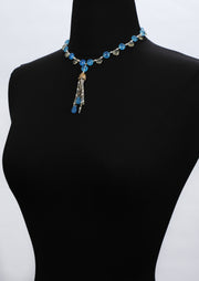 Blue Poppy: Tassel Choker Necklace-Scapolite Chalcedony Pearl Gold