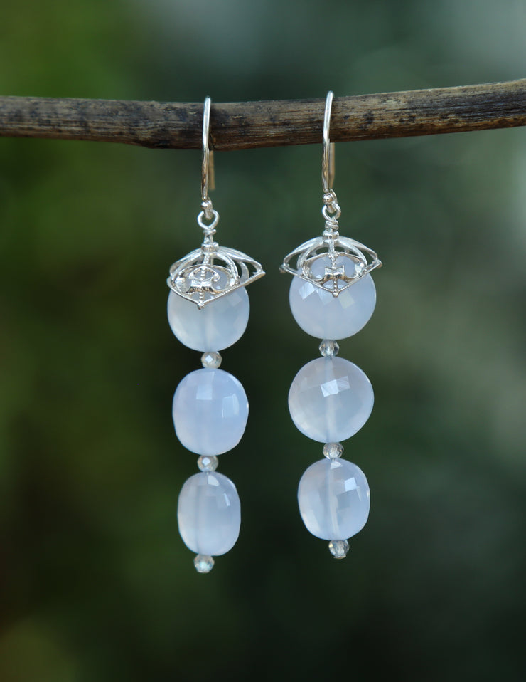 Ethereal: Dangle Earrings-Chalcedony Artisan Silver Filigree