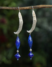 Midnight Moon: Vanilla Bean Dangle Earrings-Lapis Lazuli Silver
