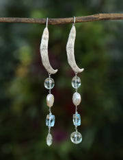 Shimmer: Vanilla Bean Dangle Earrings-Prasiolite Topaz Pearl