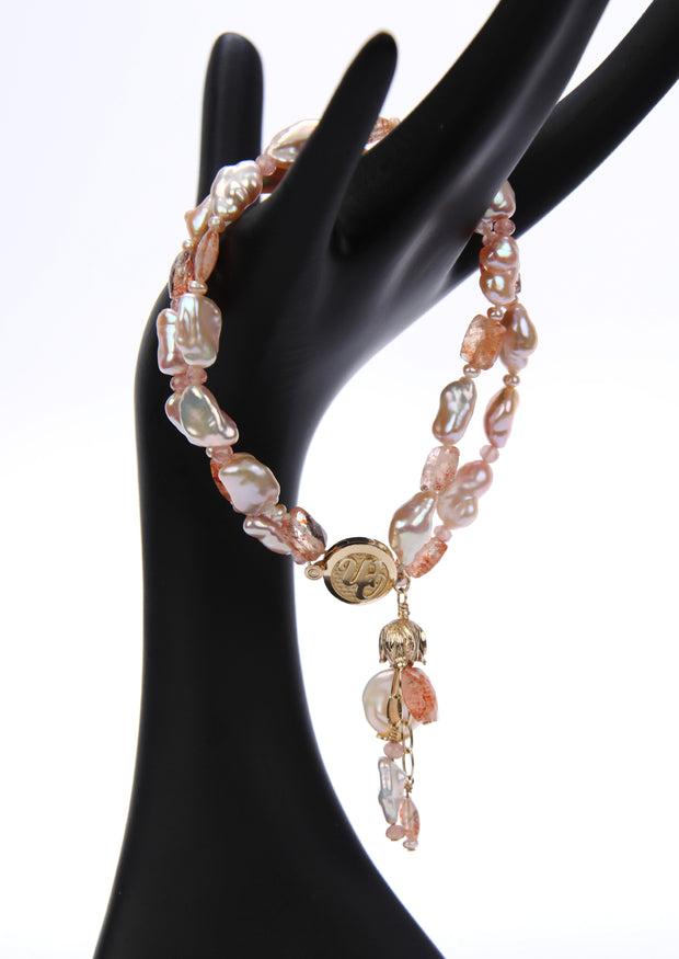 A Pocket of Sunshine: Multi-strand Bracelet-Blush Gems, a Tassel, Gold Logo Clasp