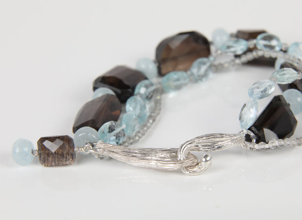 Misty Evening: 3-Strand Tassel Bracelet-Aqua Smoky Quartz Silver