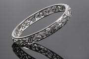 Lustrous Leaves: Sterling Silver Bangle