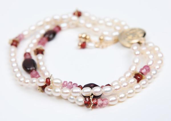 Charming: Three-Strand Tassel Bracelet-Pearl Tourmaline Ruby Garnet Gold