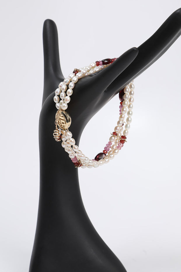 Charming: Three-Strand Bracelet-Pearl Tourmaline Ruby Garnet Gold