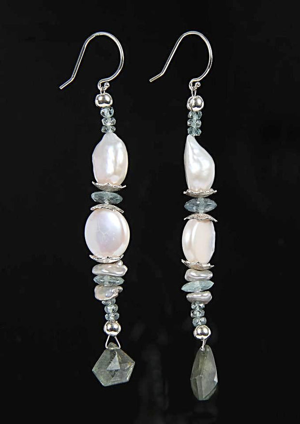 Cool Stream 1: Dangle Earrings-Keshi Pearls Apatite Aqua Silver