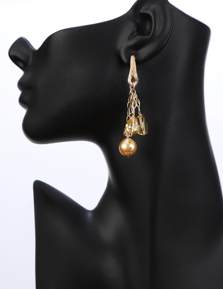 Dancing by Candlelight: Dangle Earrings-Golden South Sea Pearls Diamonds
