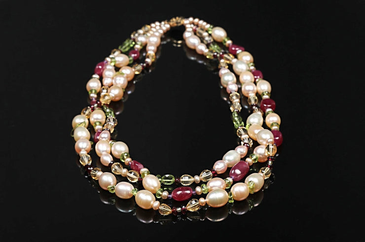 Dreaming of Tartans: Three-Strand Matinee Necklace-Pearls Rubies Garnet Citrine Gems