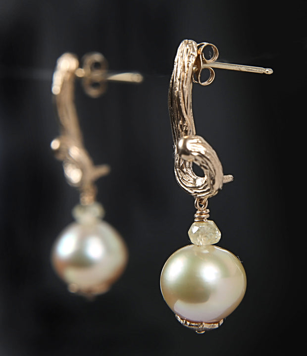 Fire and Ice: Drop Earrings-Artisan Vanilla Beans Hold Golden South Sea Pearls