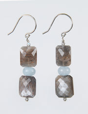 Misty Evening: Drop Earrings-Aqua Hypersthein Labradorite Silver