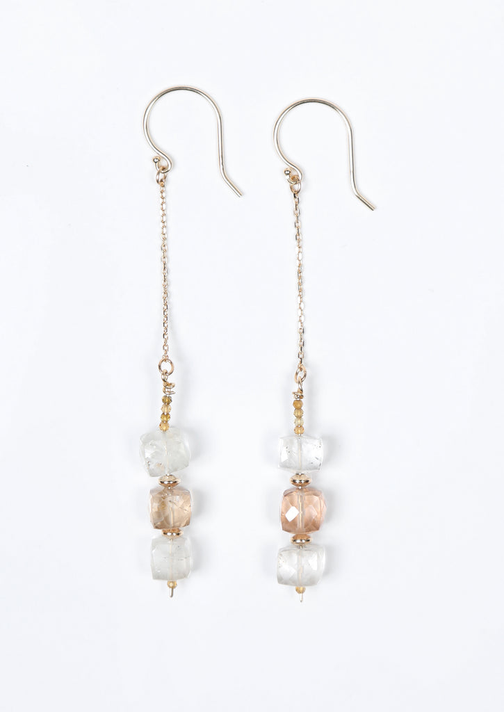 White Orchid Studios | Made in the USA | Handcrafted couture jewelry inspired by nature. |  Faceted precious topaz cubes matched with 14kt yellow gold spacers and rose Champagne zircon rondelles.  The gems swing freely on 14kt yellow gold earwires. $168