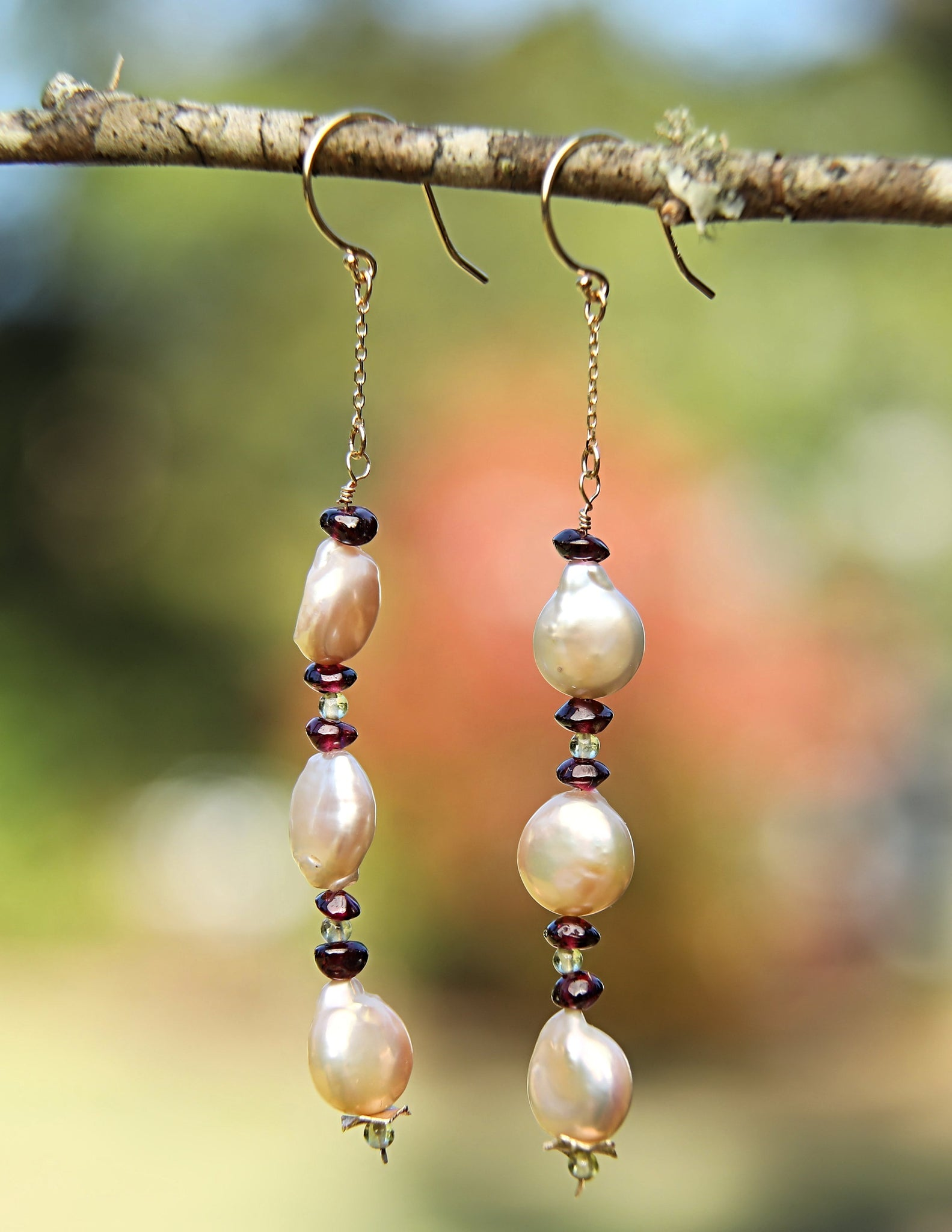 White Orchid Studios | Made in the USA | Handcrafted couture jewelry inspired by nature. |  Natural color, freshwater coin pearls, garnet rondelles, and peridot rounds with our signature 14kt yellow gold spacers and 14kt yellow gold earwires. $255