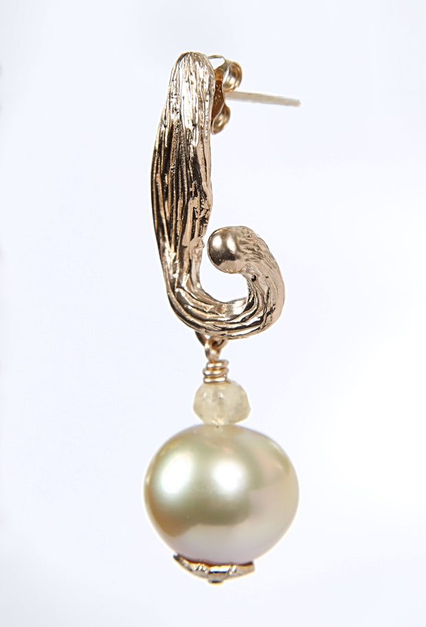 Fire and Ice: Drop Earrings-Artisan Vanilla Bean Pods Hold Golden South Sea Pearls
