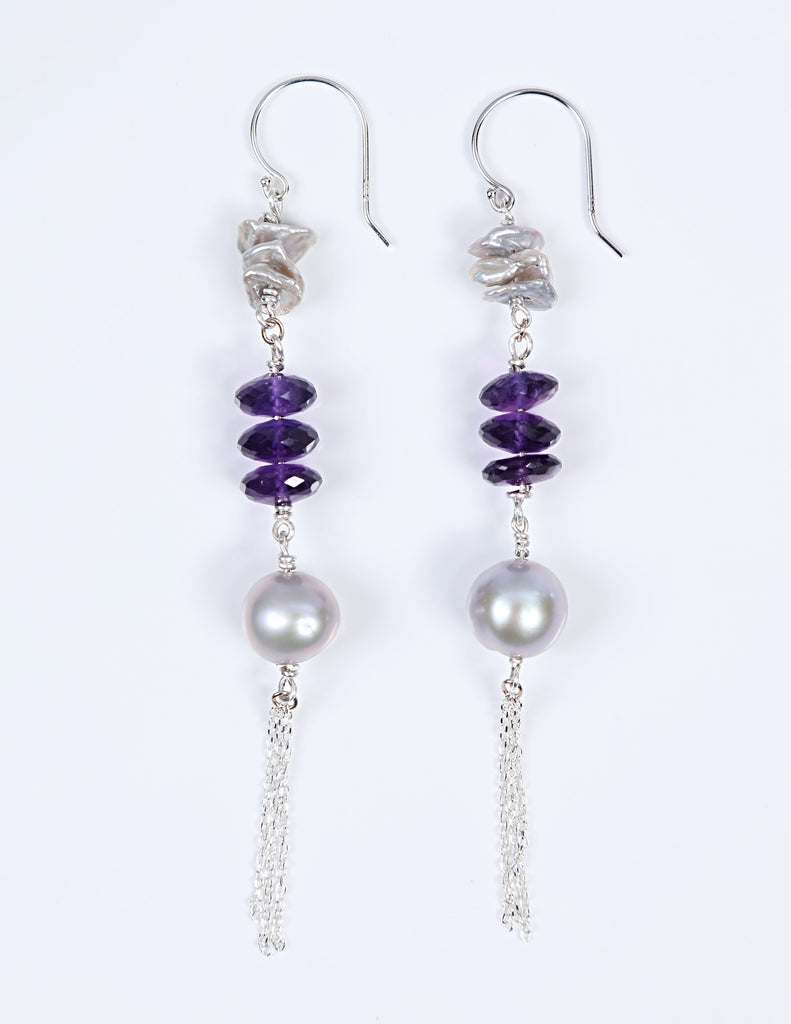 White Orchid Studios | Made in the USA | Handcrafted couture jewelry inspired by nature. |  Silver freshwater Keshi and round pearls come together with beautifully faceted amethyst roundels and sterling chain to create an earring with a Bohemian flair. $100