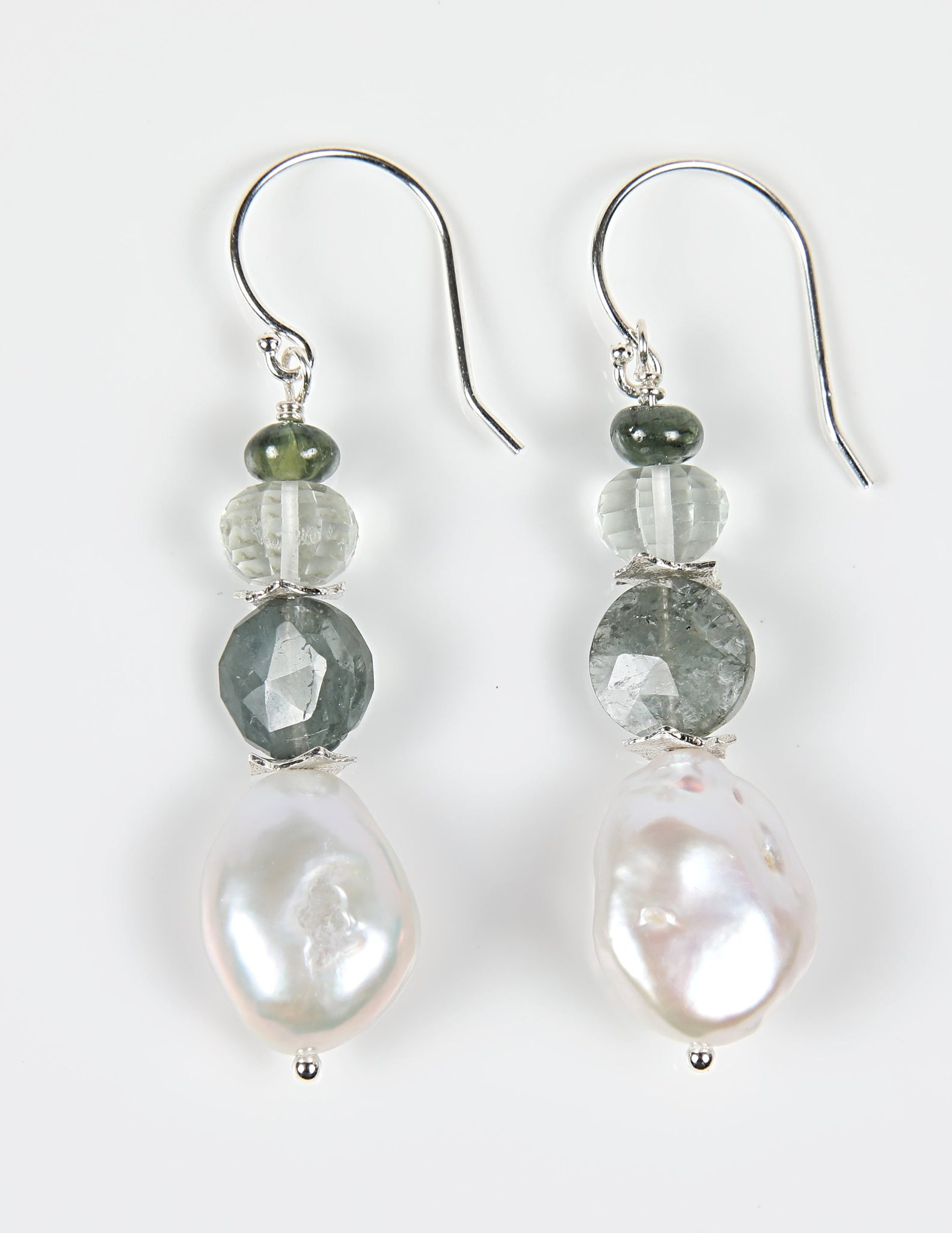 White Orchid Studios | Made in the USA | Handcrafted couture jewelry inspired by nature. |  White freshwater coin pearls combine with faceted moss aqua and carved prasiolite on sterling silver earwires for a cool, sense of a stream. $108