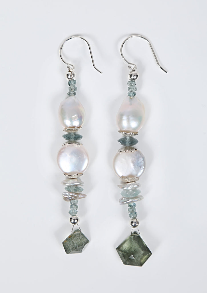 White Orchid Studios | Made in the USA | Handcrafted couture jewelry inspired by nature. |  Freshwater white Keshi and coin pearls embrace faceted apatite and aqua, accented by silver pearls as well as our signature sterling spacers, all bound by sterling earwires $210