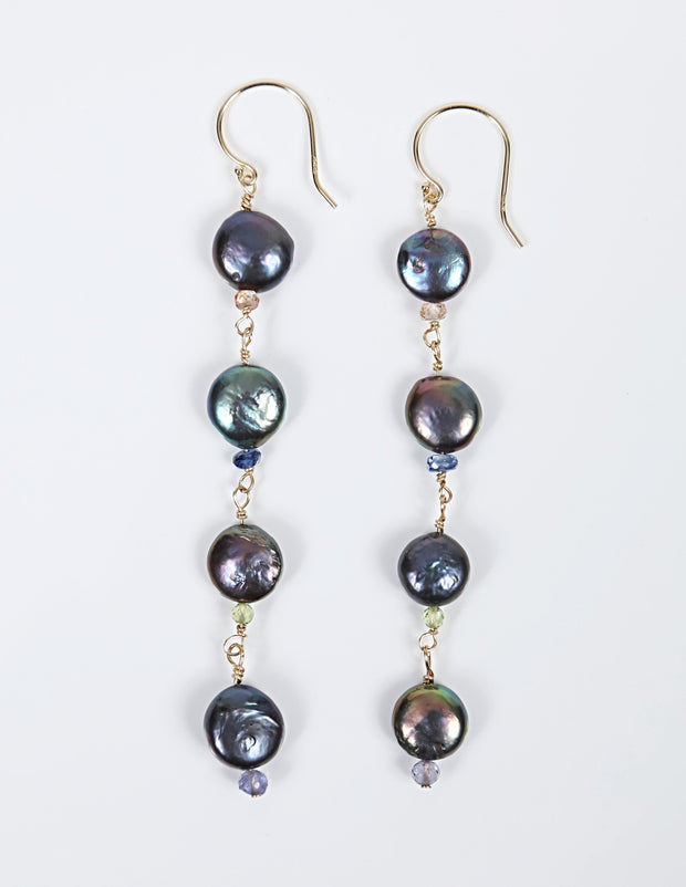 White Orchid Studios | Made in the USA | Handcrafted couture jewelry inspired by nature. |  Freshwater, peacock coin pearls enhanced by various microfaceted sapphires and created with 14kt yellow gold wire and earwires. $145