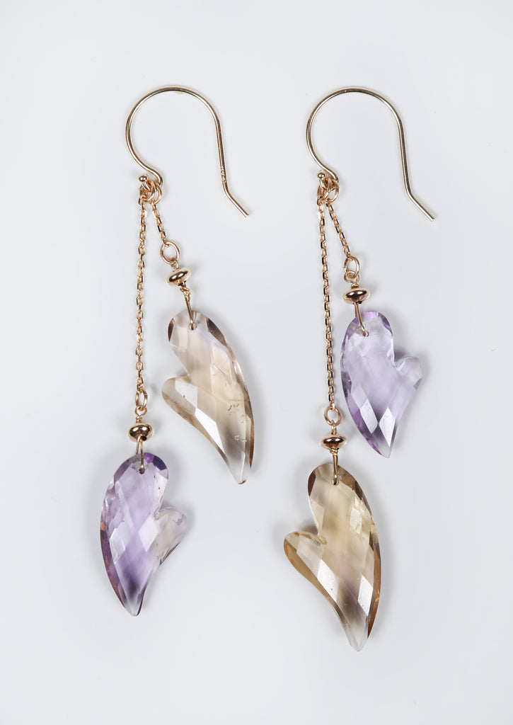 White Orchid Studios | Made in the USA | Handcrafted couture jewelry inspired by nature. |  Enjoy these fancy cut, faceted ametrine hearts swing freely on 14kt yellow gold. $144