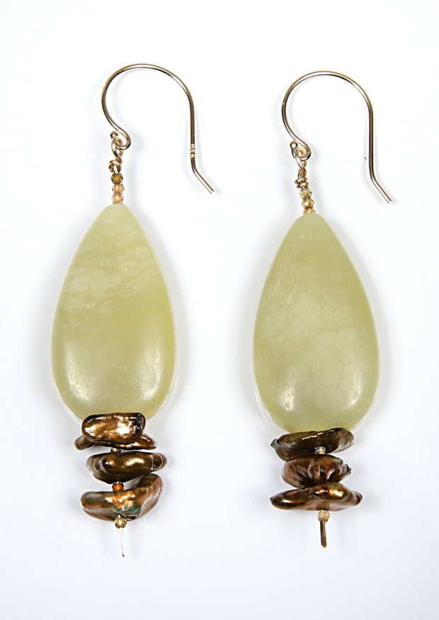 White Orchid Studios | Made in the USA | Handcrafted couture jewelry inspired by nature. |  Smooth jade tear drops nestle between golden keshi pearls and complementary colors of microfaceted tourmaline. The earrings are finished with 14kt yellow gold earwires. $130