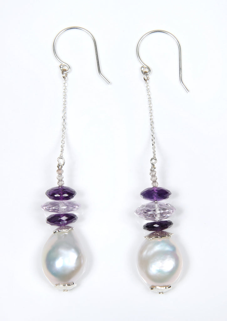 White Orchid Studios | Made in the USA | Handcrafted couture jewelry inspired by nature. | A white freshwater pearl teardrop swings freely on sterling ear wires and sterling box chain, enhanced by micro-faceted Champagne zircon and beautifully faceted deep violet and light pink amethyst. $150