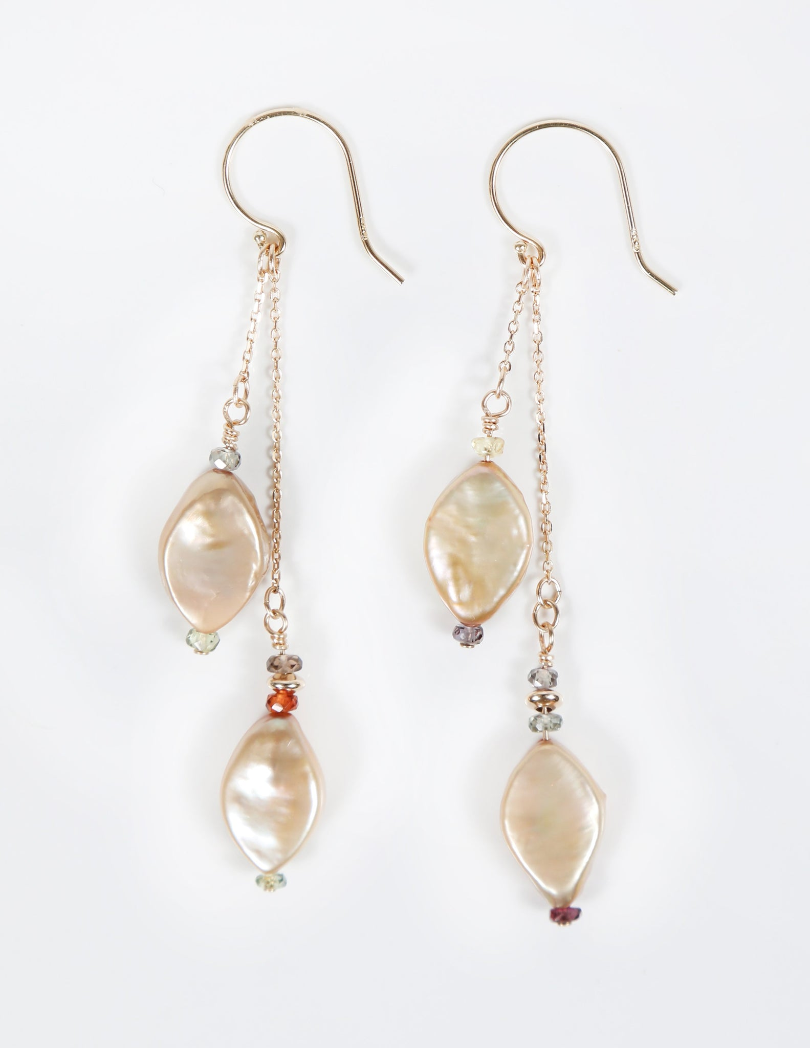 White Orchid Studios | Made in the USA | Handcrafted couture jewelry inspired by nature. |  Champagne, marquis freshwater pearls enhanced with microfaceted gems, 14kt gold chain and earwires. $130