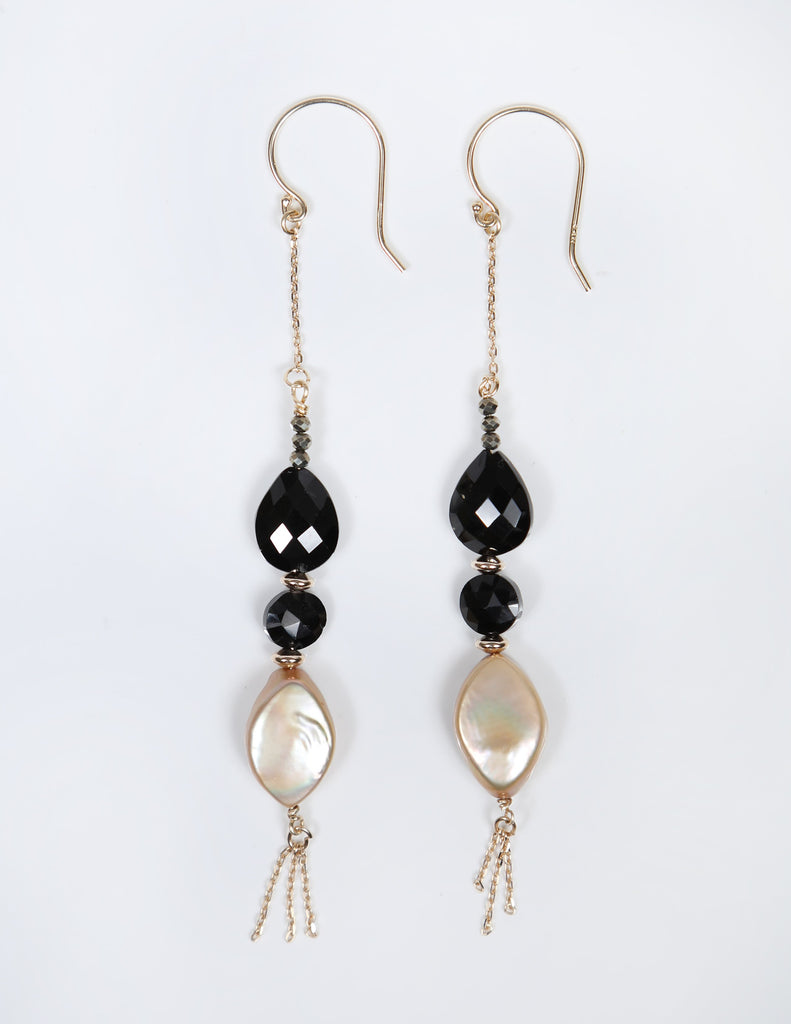 White Orchid Studios | Made in the USA | Handcrafted couture jewelry inspired by nature. |  Faceted black spinel and champagne pearls on 14kt yellow gold chain and earwires. $200
