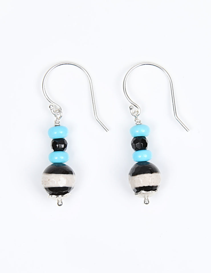 Beautiful Stripes 2: Drop Earring-Banded Agate Turquoise Onyx Silver