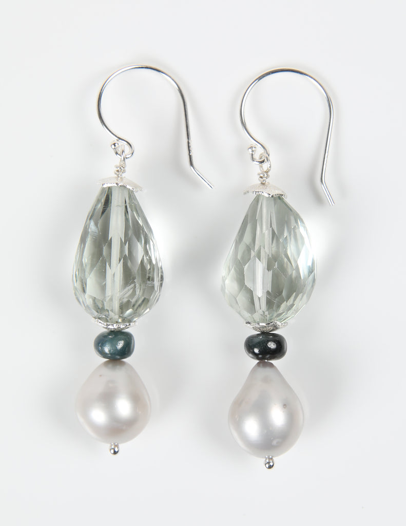 White Orchid Studios | Made in the USA | Handcrafted couture jewelry inspired by nature. |  Faceted prasiolite nuggets, polished kyanite, baroque freshwater pearls embraced by our hand-crafted spacers in sterling on sterling earwires. $186