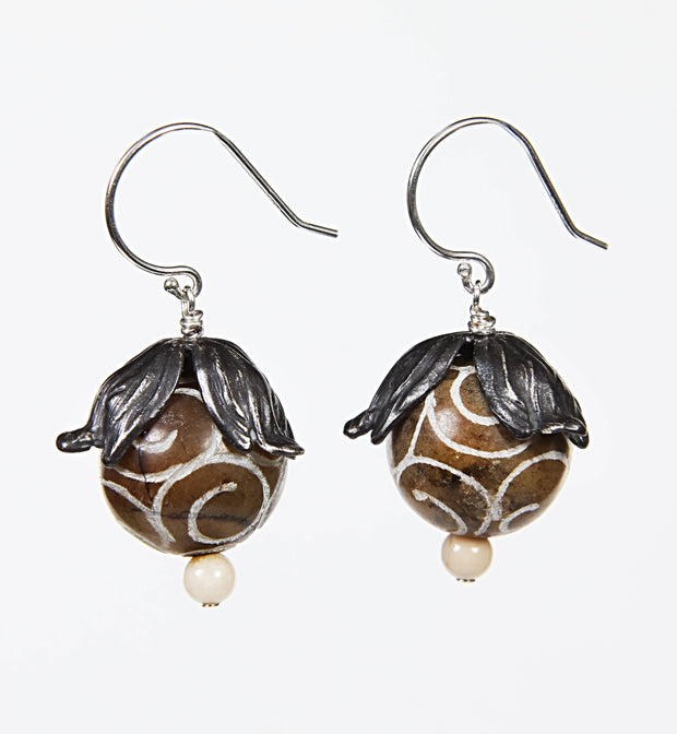 Autumn Joy: Drop Earrings-Carved Jade 925 Silver Riverstone Jasper