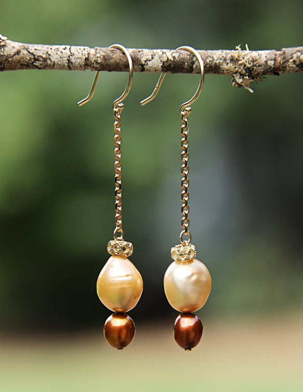 Golden Glow: Dangle Earrings-Golden and Bronze Freshwater Pearls Gold
