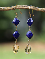 Blue Sky Dawning: Dangle Earrings-Lapis Lazuli Citrine Gold